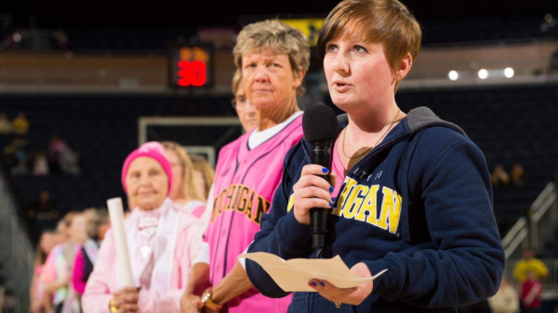 Jennifer Cash speaking about breast cancer