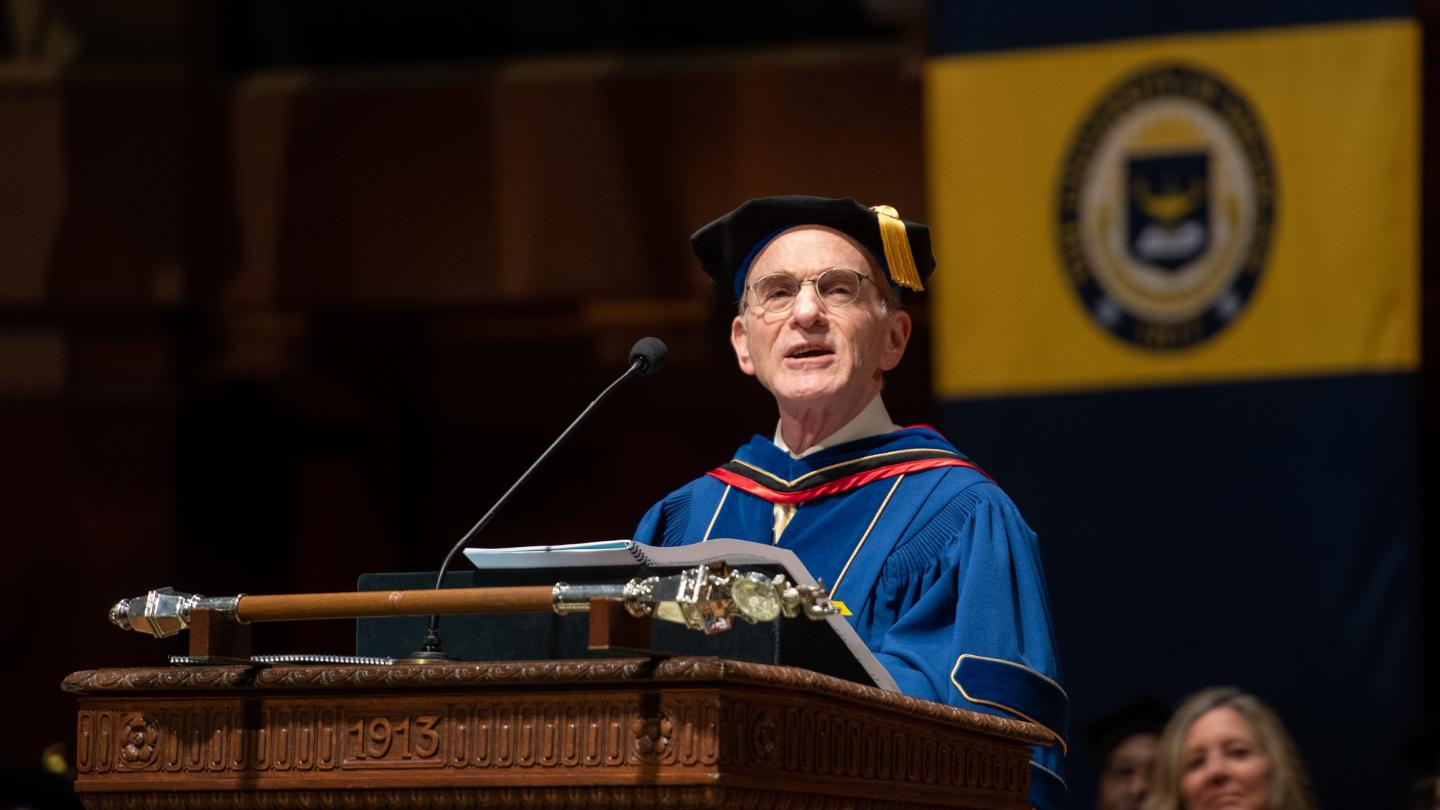 Randy Schekman delivers the commencement address at the 2019 Rackham Graduate Exercises