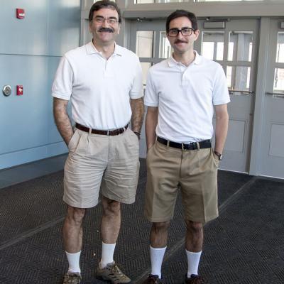 Dan Klionsky and lab member dress alike for Halloween