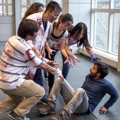 Klionksy lab members dressed as zombies