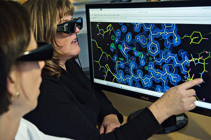 Scientists looking at 3-D structures on a screen
