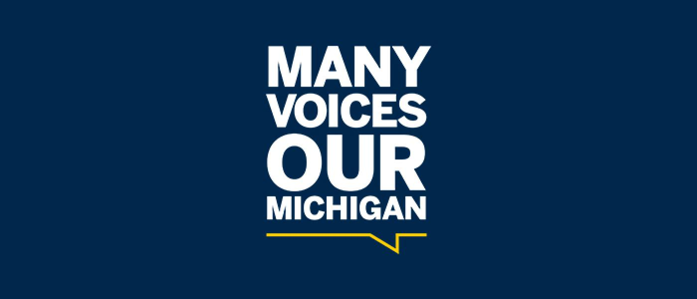 Many Voices, Our Michigan Logo